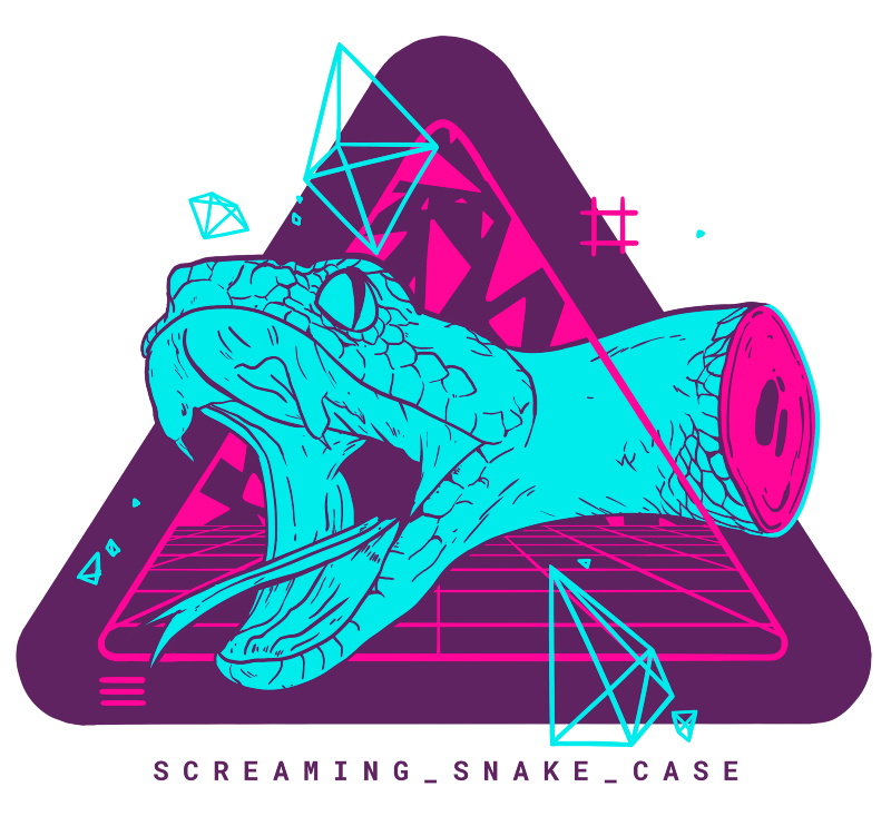 SCREAMING_SNAKE_CASE retro vapour wave style neon blue snake head with dark purple background and pink neon grid