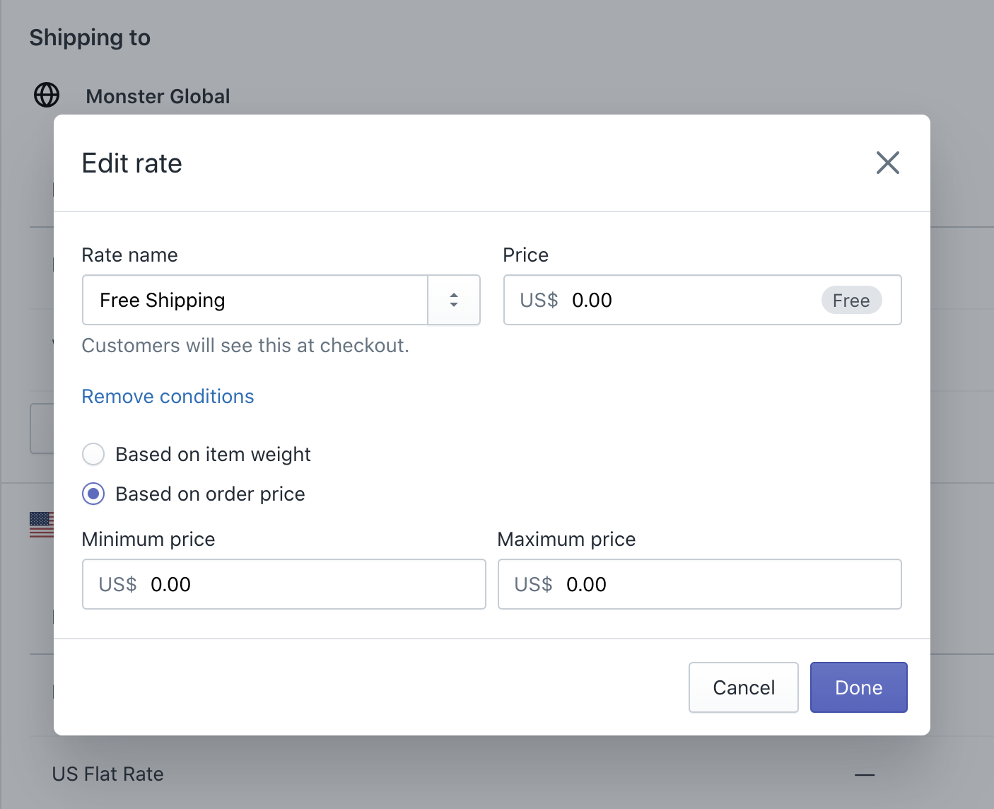Shopify Shipping Rate Settings Screenshot