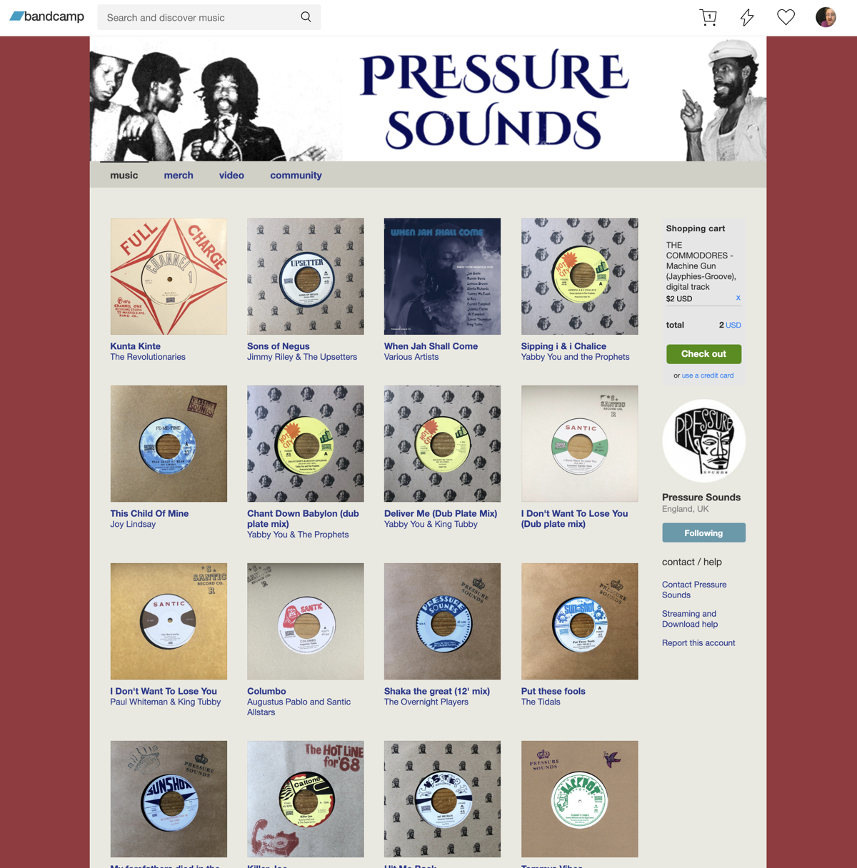 Screen Shot of Pressure Sounds discography on Bandcamp